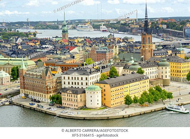 Riddarfjärden from City Hall Tower, Gamla Stan, Stockholm, Sweden, Scandinavia, Europe