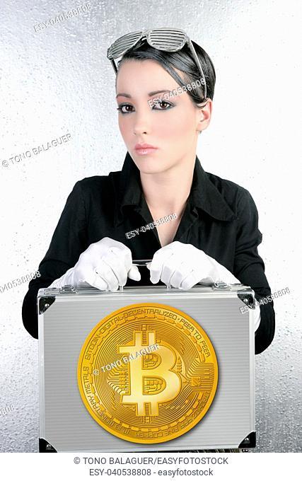 futuristic Bitocin businesswoman holding silver briefcase BTC