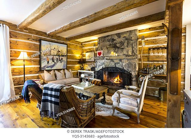 livingroom with fireplace in log house