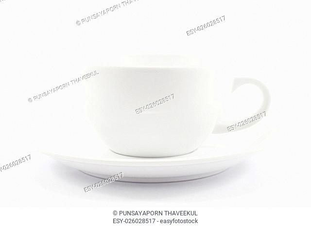 White coffee cup isolated on white background, stock photo