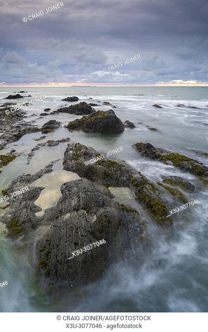 The rocky shore at Westward Ho, North Devon, England