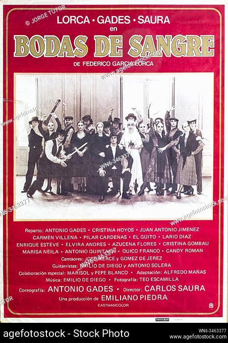 Film poster, 1979, from Carlos Saura of Bodas de Sangre, Garcia Lorca, with Antonio Gades, Cristina Hoyos
