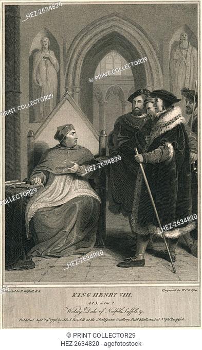 'King Henry VIII. Act 3. Scene 2. Wolsey, Duke of Norfolk, Suffolk & c', 1796. Artist: WC Wilson