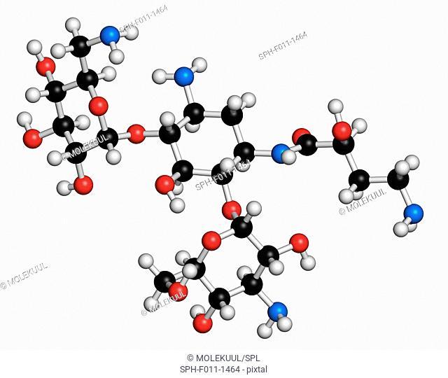 Amikacin aminoglycoside antibiotic molecule. Mostly used as last-resort treatment of multidrug-resistant Gram-negative bacteria
