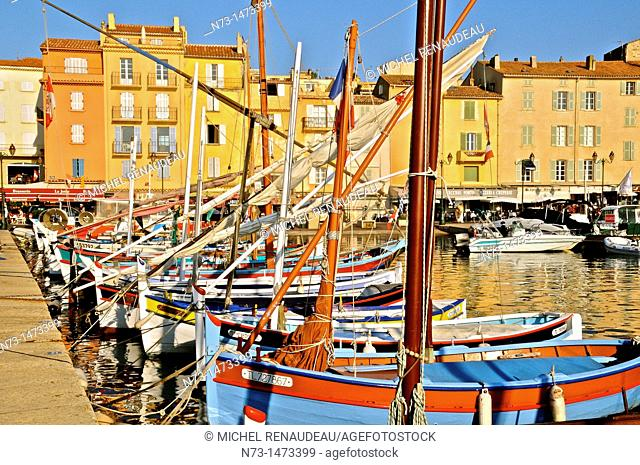 France, Var 83, St  Tropez, Sharp, traditional sailing boat in the port