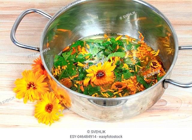 Homemade preparation of organic healing ointment from fresh marigold flowers, leaves and lard