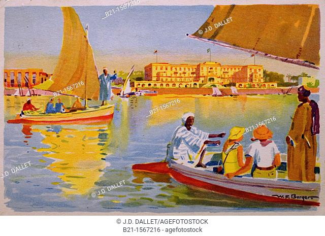 Postcard (ca. 1930) depicting tourists on felucca boats on the Nile river in front of the Winter Palace Hotel at Luxor, Egypt