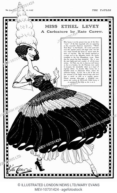 Ethel Levey (1880-1955), American actress and singer, caricatured for The Tatler by Kate Carew