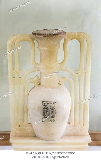 Egypt, Cairo, Egyptian Museum, Tutankhamon alabaster, from his tomb in Luxor : Unguent vase with cartouches of Tutankhamun