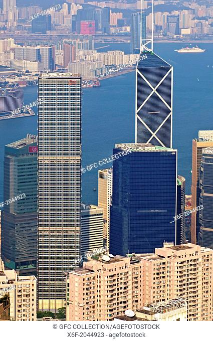 High-rising business buildings and the Bank of China Tower in the Central District against the Victoria Harbour, Hong Kong