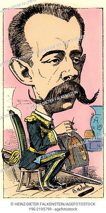 Henri Amédée de Broglie, Prince de Broglie, 1849 - 1917, Political caricature, 1882, by Alphonse Hector Colomb pseudonym B