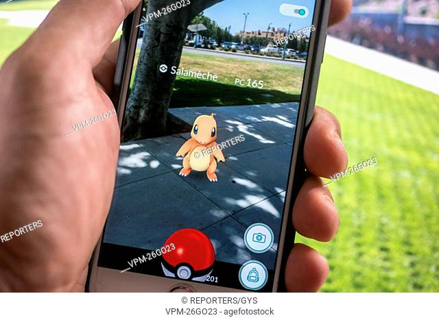 Belgium, Brussels, Jul 19 2016 - Illustration picture around the mobile game Pokemon Go         Copyright Danny Gys / Reporters Reporters / GYS