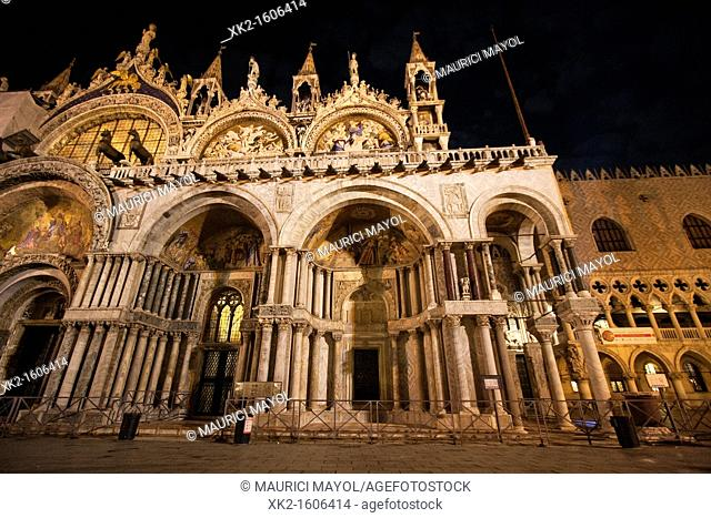 Detail of Saint Mark's Basilica  Night, Venice, Italy