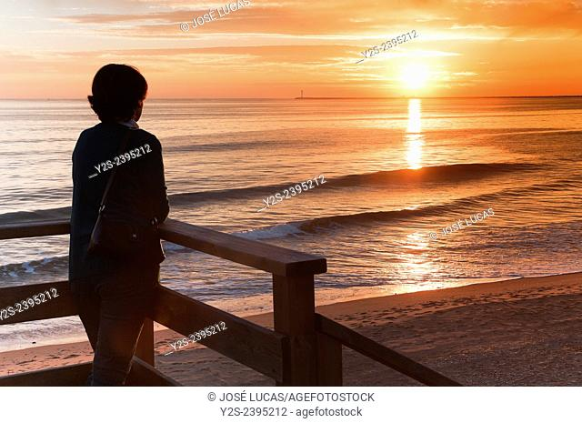 Mazagon beach at sunset, Mazagon, Huelva province, Region of Andalusia, Spain, Europe