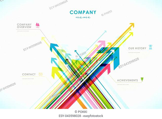 Company infographic overview design template with arrows and icons