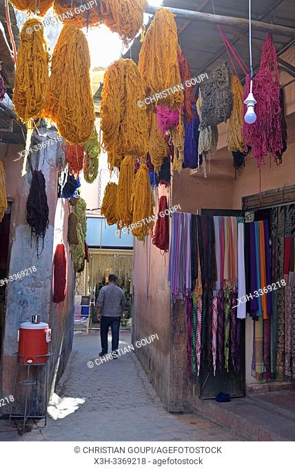 dyeing workshop in a souk of the Medina of Marrakech, Morocco, North West Africa