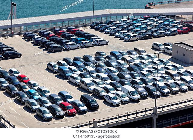 Cars parked for shipping, Port of Barcelona, Catalonia, Spain