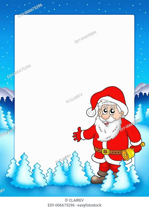 Christmas frame with Santa Claus 3 - color illustration