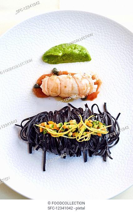 Black tagliolini with Norway lobster