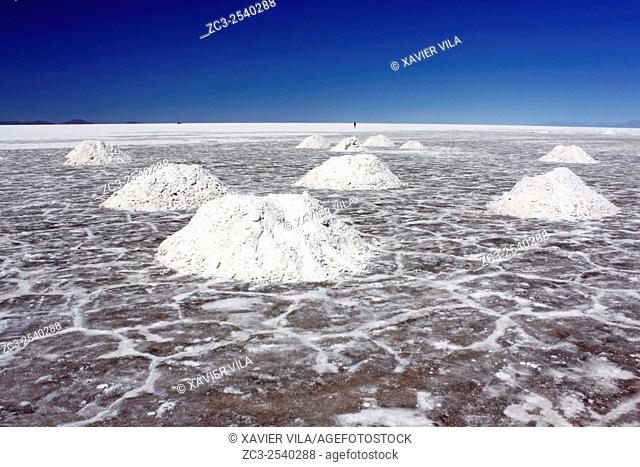 Salt mounds made to dry the salt which is then collected and stored in bags, in the desert of the Salar de Uyuni, national reserve of Andean Fauna Eduardo...