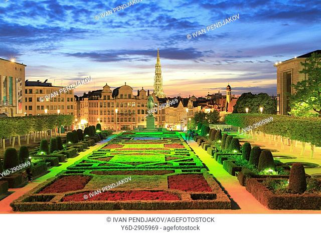 Mont des Arts and City Hall at Sunset, Brussels, Belgium