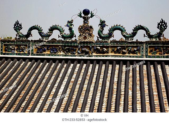 Engravings on the roof of the temple at Tsing Shan temple, New Territories, Hong Kong