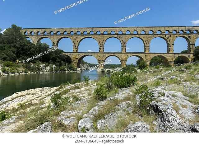 The Pont du Gard (UNESCO World Heritage Site), an ancient Roman aqueduct that crosses the Gardon River, near Nimes in the south of France