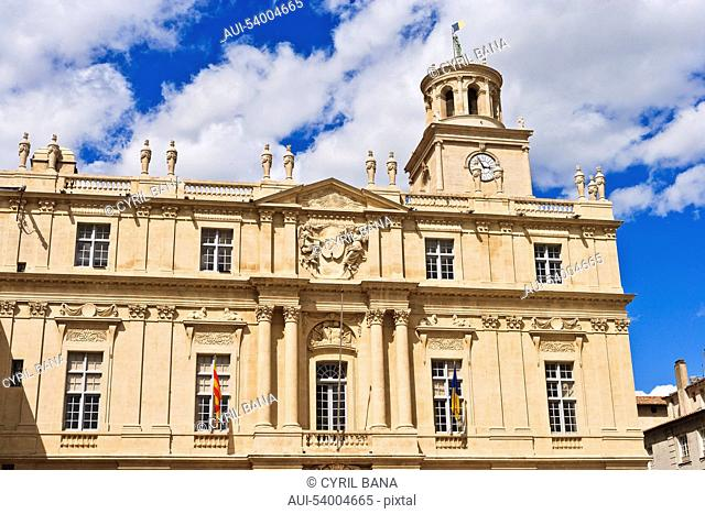 France, Arles, City Hall, frontage, front view, tower