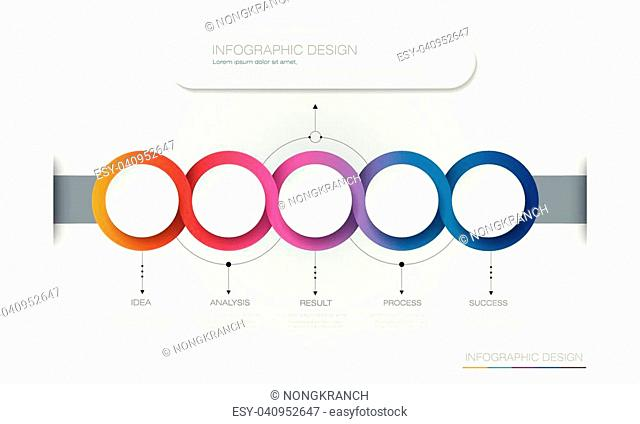 Vector Infographic 3d circle label template design.Infograph with 5 number options or steps. Infographic element for layout, process diagram, parts, chart