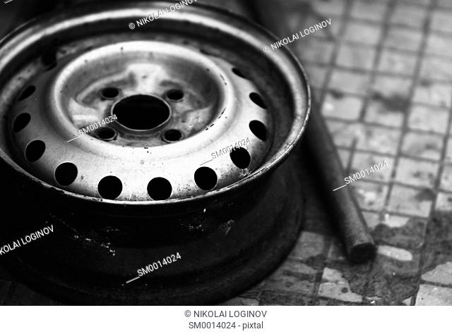 Horizontal vintage black and white wheel bokeh background backdrop