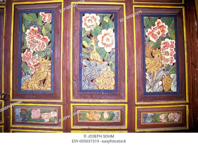 Original wood carved door to Bei family home in Dali, Yunnan Province, Peoples Republic of China