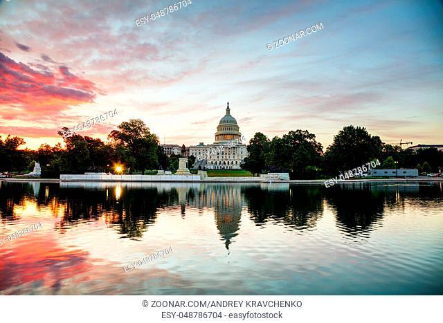 United States Capitol building in Washington, DC at sunrise