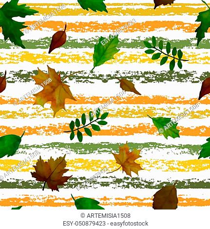 Beautiful set of leaves background. Elements for design. Seamless pattern. Vector illustration