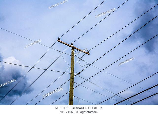 Telephone pole and power lines