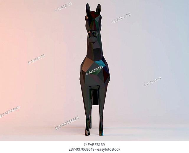 3D black low poly (horse) inside a white stage with high render quality to be used as a logo, medal, symbol, shape, emblem, icon, children story