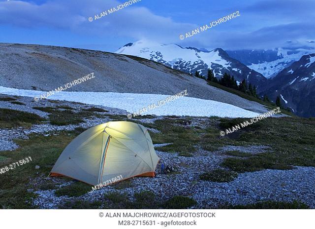 Backcountry camp on Hannegan Peak overlooking Ruth Mountain, North Cascades Washington