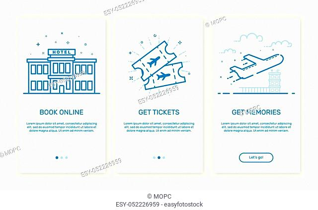 Vector Illustration of onboarding app screens and web concept book hotel online for mobile apps in flat line style. Modern blue interface UX UI GUI screen...