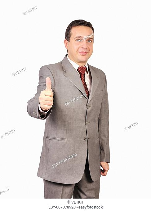 man shows agreement on white background