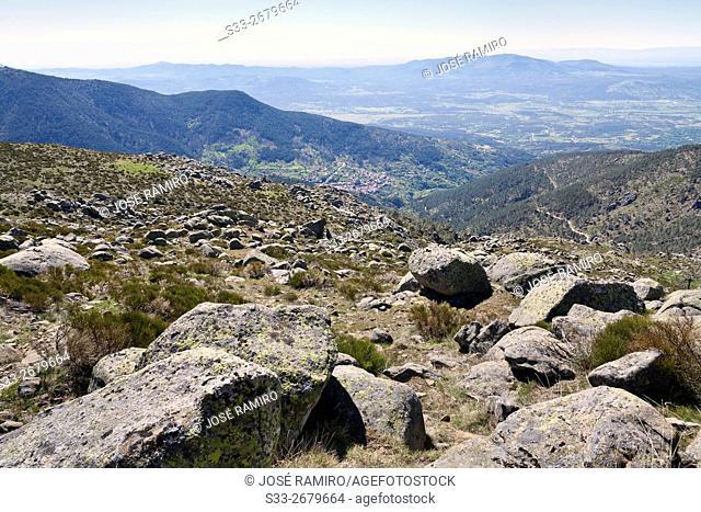 Tietar Valley from Centenera Meadows in the Sierra de Gredos. Avila. Castilla Leon. Spain. Europe