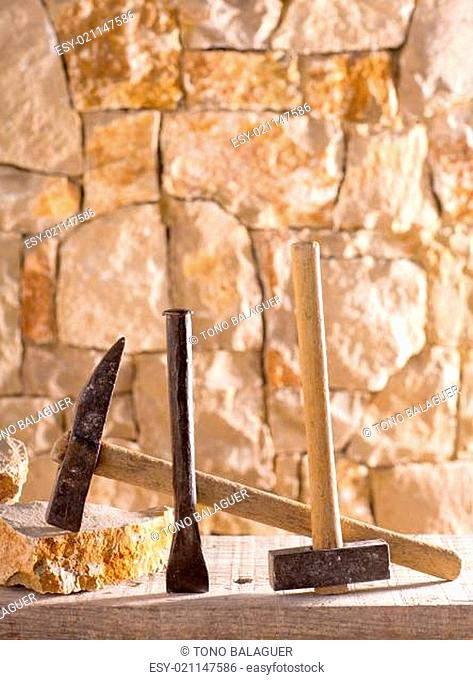 Hammer tools of stonecutter masonry work