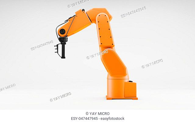 Robotic arm on gray background. Industrial robot manipulator. Modern industrial concept. 3d illustrator