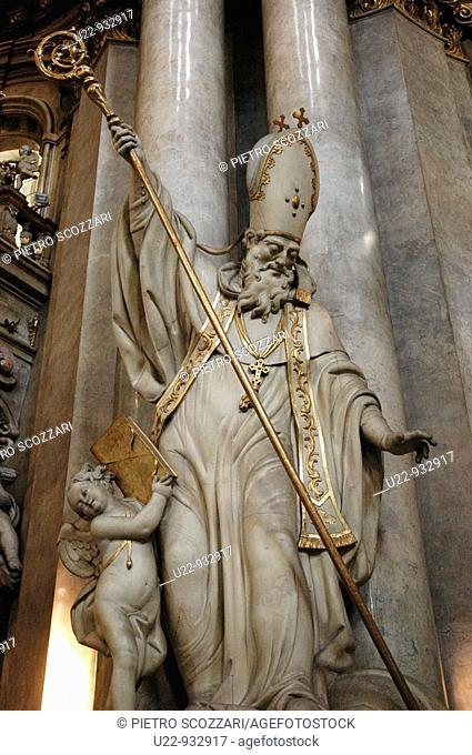 Prague (Czech Republic): statue inside the Svateho Mikulas (Saint Nicholas) church (Mala Strana)