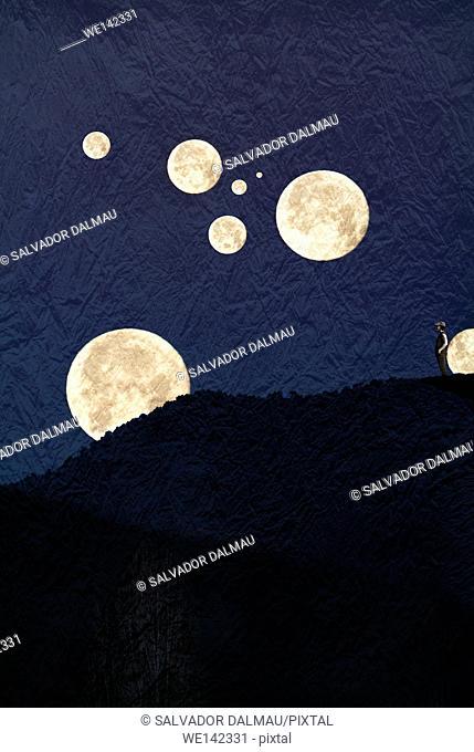 creative composition, a world of moons,imagination,location girona,catalonia,spain,europe,