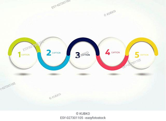 Infographic vector option banner with 5 steps. Color spheres, balls, bubbles. Infographic template