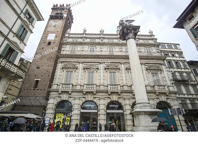 Verona Veneto Italy on November 24, 2019: Christmas in Verona streets. Piazza delle Erbe