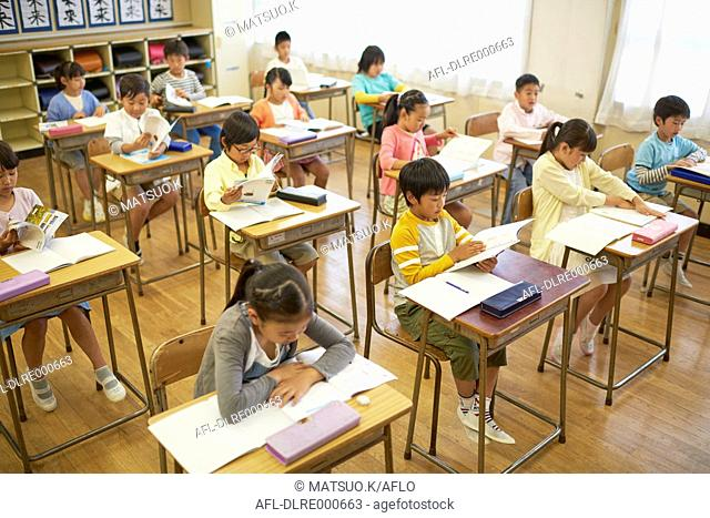 Japanese elementary school kids in the classroom