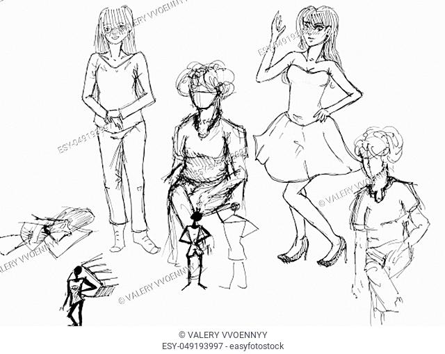 sketches of various female figures hand-drawn by black ink on white paper