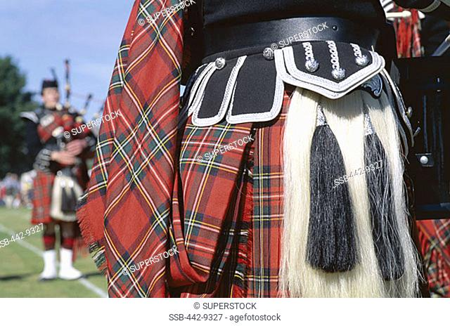 Detail of Kilt and Sporran and Bagpiper, Highland Games, Highlands, Scotland