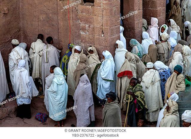 Pilgrims Gather At Bete Maryam Church, Lalibela, Ethiopia