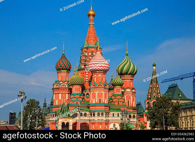 St. Basil's Cathedral on Red Square in Moscow and nobody around one autumn morning